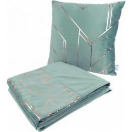 Набір подушка і плед Prisma 125 Mint/Gold