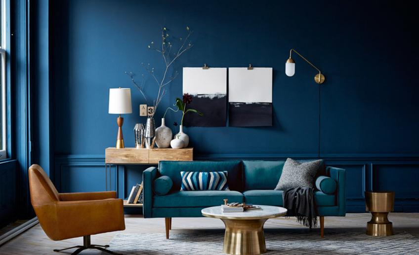 інтер'єр синього кольору