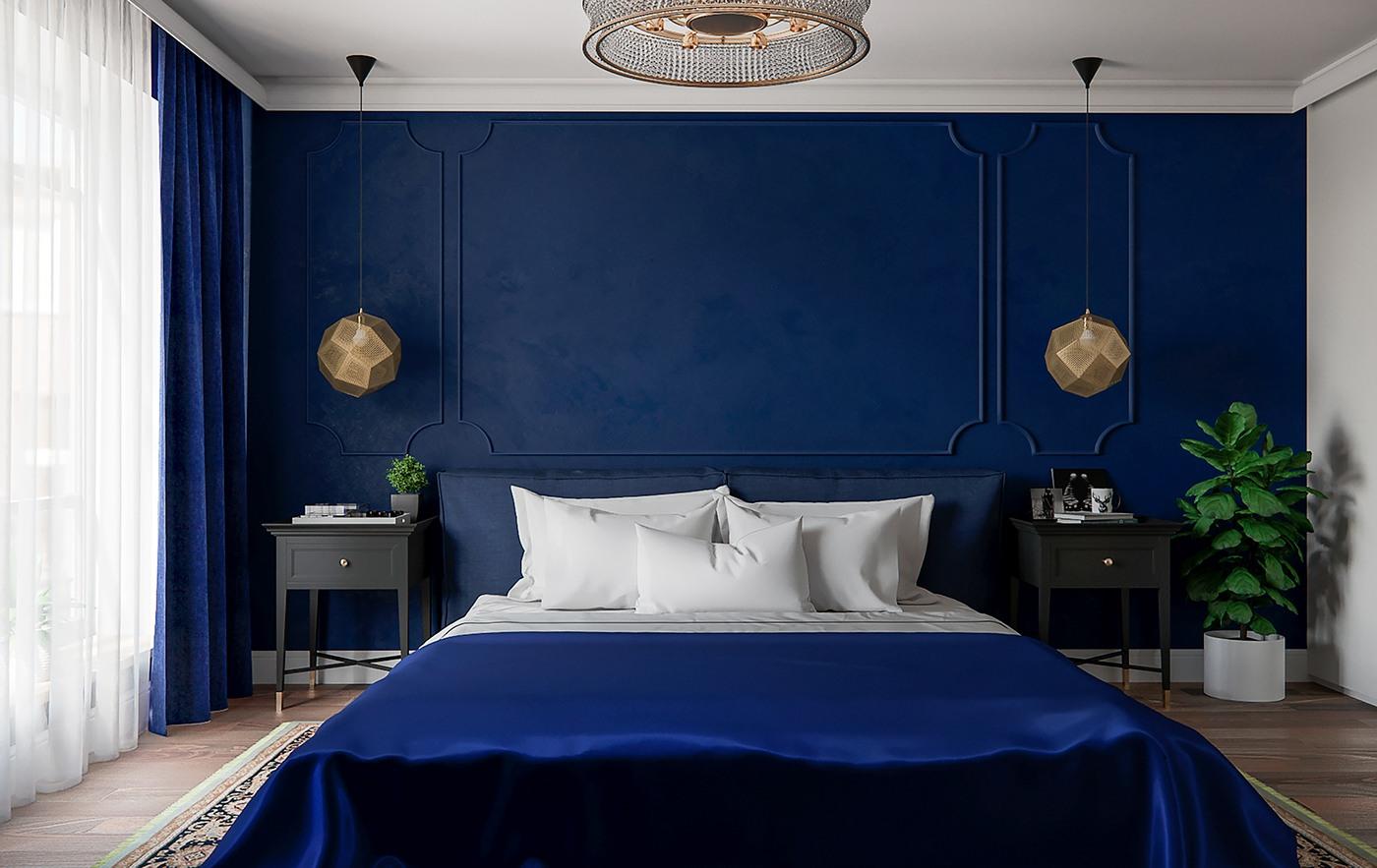 спальня синього кольору