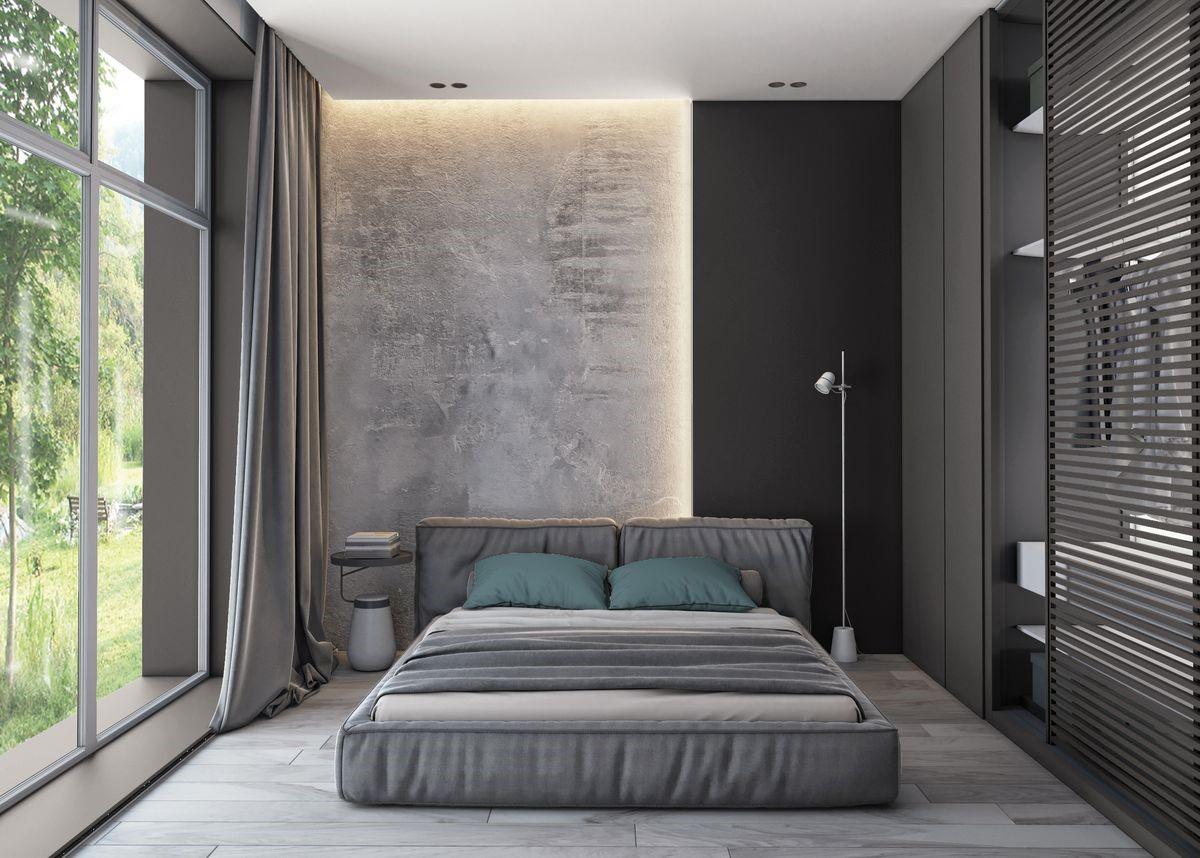 Вбудоване освітлення в спальні мінімалізм