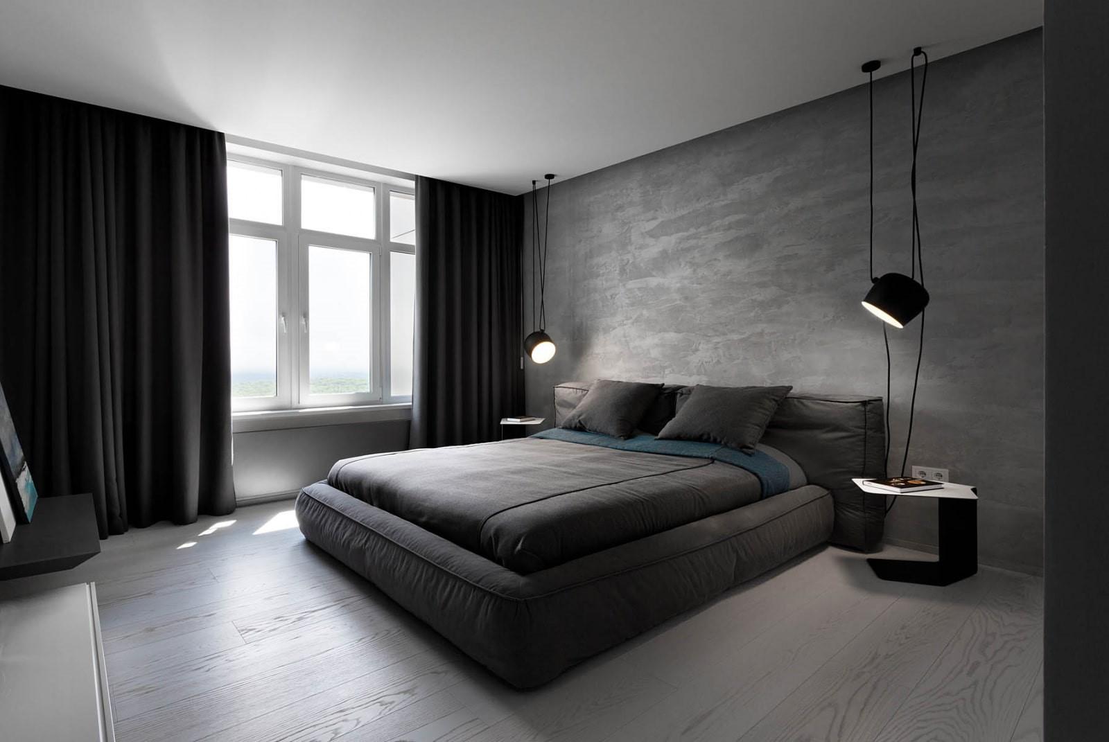 графітово сірі стіни в спальні в стилі мінімалізм