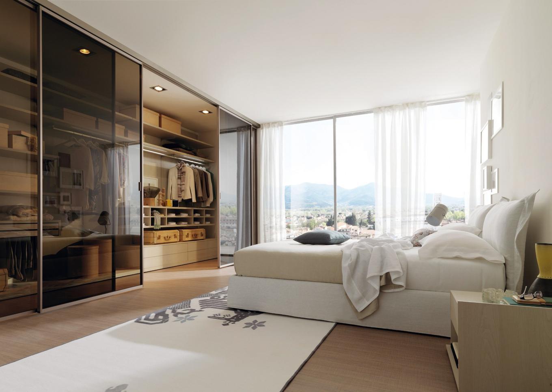 Гардеробна зона в спальні в стилі мінімалізм фото