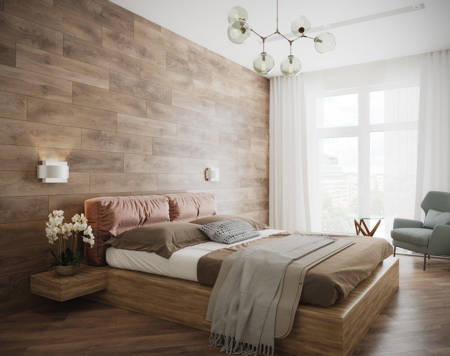 Ліжко в дизайні спальні мінімалізм