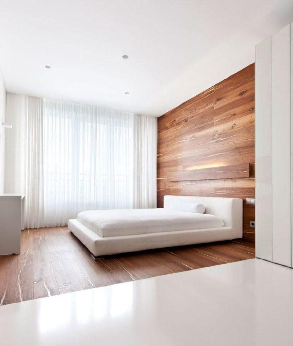 Дерев'яний паркет в дизайні інтер'єру спальні в стилі мінімалізм