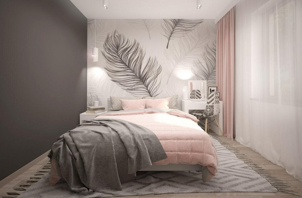 Спальня в стилі мінімалізм в сірому кольорі з рожевим акцентом