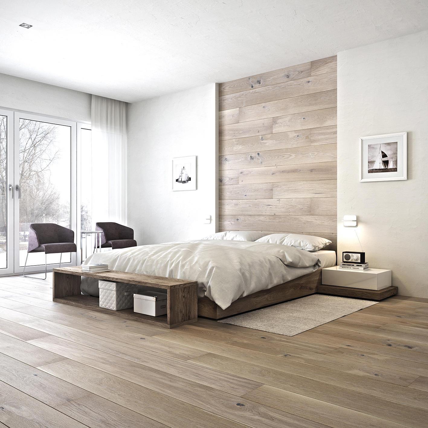Дерев'яні підлоги в дизайні інтер'єру спальні в стилі мінімалізм