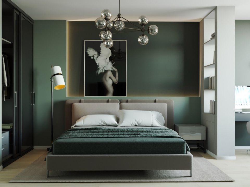 Спальня в стилі мінімалізм в зелених тонах