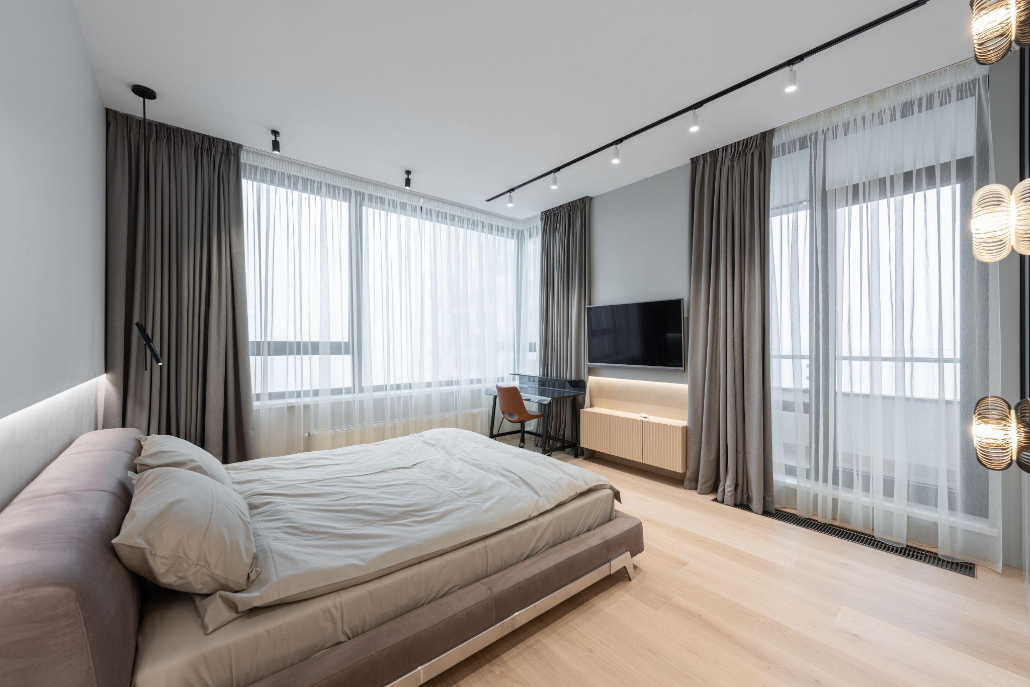 Сірі тони спальні в стилі мінімалізм